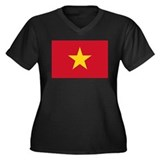 Vietnam Flag Women's Plus Size V-Neck Dark T-Shirt