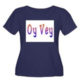 Yiddish Oy Vey Women's Plus Size Scoop Neck Dark T