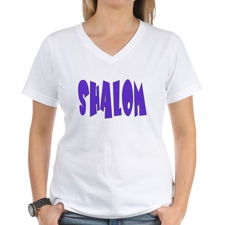 Hebrew Shalom Women's V-Neck T-Shirt