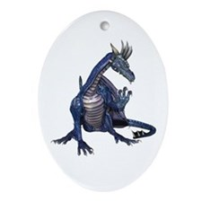 Blue Dragon Oval Ornament