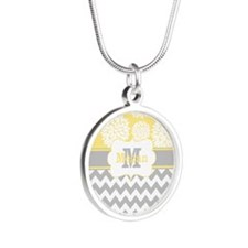 Gray Yellow Chevron Blooms Personalized Necklaces