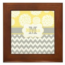 Gray Yellow Chevron Blooms Personalized Framed Til