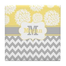 Gray Yellow Chevron Blooms Personalized Tile Coast