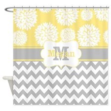 Gray Yellow Chevron Blooms Personalized Shower Cur