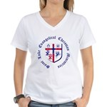 St. Luke's Women's V-Neck T-Shirt w/large graphic.