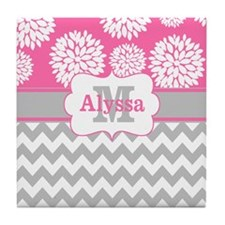 Gray Pink Chevron Blooms Personalized Tile Coaster