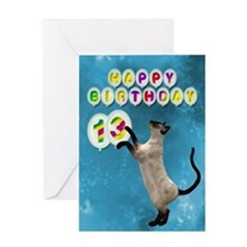 13th birthday with siamese cat. Greeting Cards
