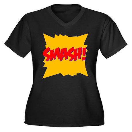 Smash! Women's Plus Size V-Neck Black T-Shirt