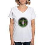 Pink Lady's Slipper Women's V-Neck T-Shirt