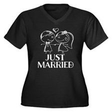 Just Married chalk drawing Plus Size T-Shirt