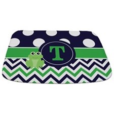 Navy Green Frog Monogram Bathmat