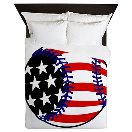 Baseball american flag queen duvet by justsportsshop for American flag bedroom ideas