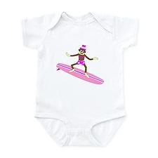 Sock Monkey Surfer Girl Infant Bodysuit