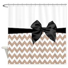Beige Black Bow Chevron Shower Curtain