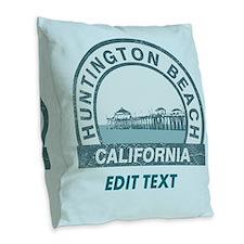 Huntington Beach Burlap Throw Pillow