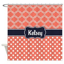 Navy Blue Coral Dots And Lattice Shower Curtain