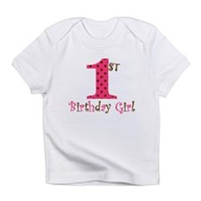 1st Birthday Girl Pink and Brown Infant T-Shirt