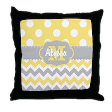 Yellow Gray Chevron Dots Personalized Throw Pillow