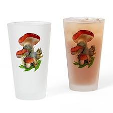 Mushroom Squirrel Drinking Glass