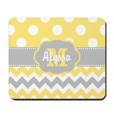 Yellow Gray Chevron Dots Personalized Mousepad