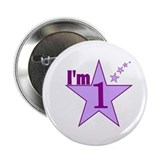 I'm 1 Girls Birthday Button