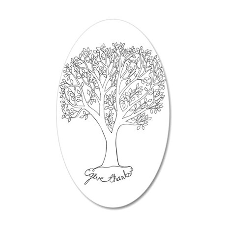 Give Thanks Tree 20x12 Oval Wall Decal