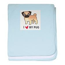 Cute Pug or pugs baby blanket
