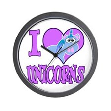 I Love (Heart) Unicorns Wall Clock