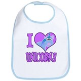 I Love (Heart) Unicorns Bib