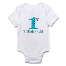 1st Birthday Girl Teal and Brown Body Suit