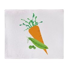Green Peas Carrot Throw Blanket