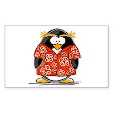 Red Hawaiian Penguin Rectangle Bumper Stickers