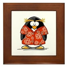 Red Hawaiian Penguin Framed Tile