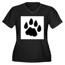 Cougar Shirt Women's Plus Size V-Neck Dark T-Shirt