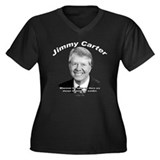 Jimmy Carter 02 Women's Plus Size V-Neck Dark T-Sh