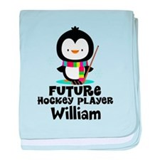 Personalized Hockey Player Penguin baby blanket