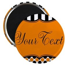Personalizable Orange and Black Script Magnets