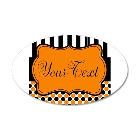 Personalizable Orange and Black Script Wall Decal