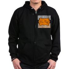 Personalizable Orange and Black Script Zip Hoodie