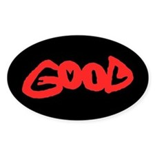 Good vs Evil ~ evil red Oval Decal