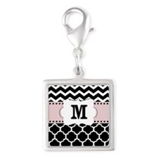 Black Pink Chevron Quatrefoil Monogram Charms