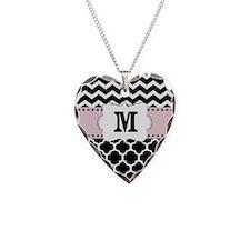 Black Pink Chevron Quatrefoil Monogram Necklace