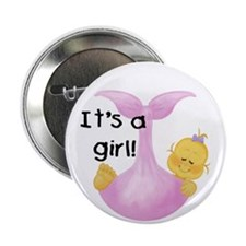 "It's a Girl White Baby 2.25"" Button (10 pack)"