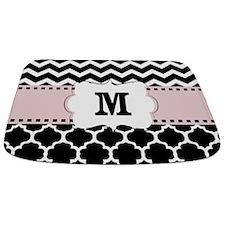 Black Pink Quatrefoil Chevron Monogram Bathmat