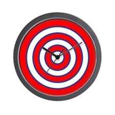 Red White and Blue Bullseye Tablecloth Wall Clock
