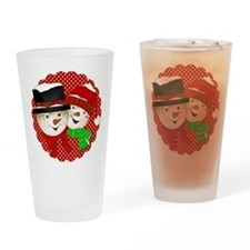 Snowmen Couple on Red Drinking Glass