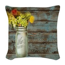 mason jar floral barn wood wes Woven Throw Pillow
