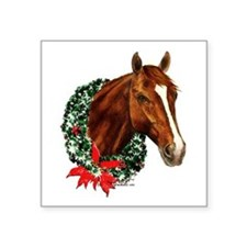 "Christmas Horse Square Sticker 3"" x 3"""