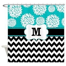 Teal Black Chevron Blooms Monogram Shower Curtain