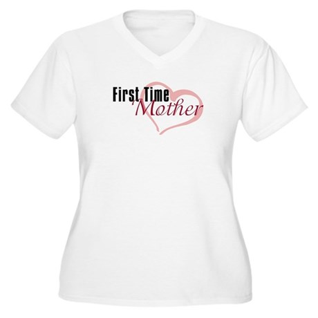 First Time Mom Women's Plus Size V-Neck T-Shirt
